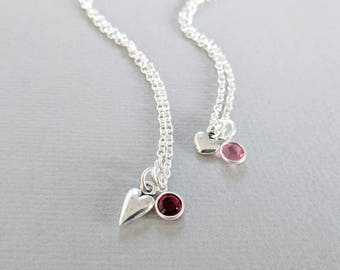 Mother Daughter Heart Necklaces, Mother Daughter Birthstone Necklaces, Mum and Daughter Matching Jewellery