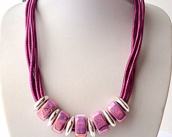 Purple necklace, Collar necklace, Bib necklace, silk cord necklace, Ceramic necklace,  magenta necklace, Beach necklace, textile jewelry