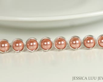 Set of 4-10 Peach Pearl Bridesmaids Earrings Pearl Bridal Earrings Bridal Pearl Studs Sterling Silver Pearl Earrings Bridesmaids Gifts