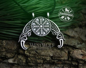 "Viking ""Helm of Awe"" Rune Pendant with Hugin and Munin Ravens --- Norse/Odin/Valhalla/Necklace/Gods/Norse/Silver/Steel"