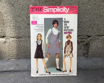 60's Simplicity 8414 Simple-To-Sew Young Junior/Teens' & Misses Jumper in Two Lengths // Size 9/10 Bust 30 1/2