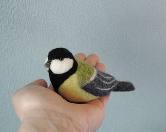 Needle Felted Great Tit, Handmade Bird, Needle Felted Bird, Parus Major, Birds Home Decor- READY TO SHIP