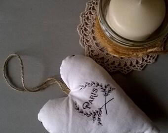 Vintage White Linen Paris Printed Hearts