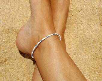 blue and white anklet surf beach nautical cruise wear seed bead vacation anklet