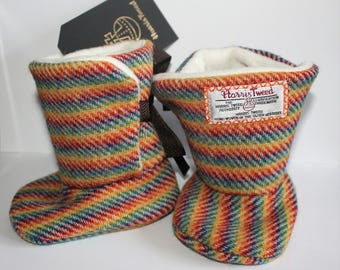 Baby Boots, Rainbow, Harris Tweed, Baby Boots, 3-6 Months, Ribbon Tie, Wool Boots, Gift For Baby, Christening, Naming Day, Medusa Bijoux