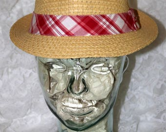 Vintage Men's Straw Fedora Hat  - Budweiser - 1990s - One Size