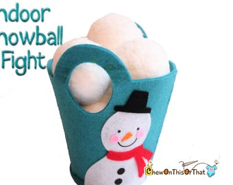 Ready to Ship- Personalized Indoor Snowball Fight in Blue Snowman Felt Pail, Soft Plush Snowball Kit, Family Gift, Snow Day Winter Fun