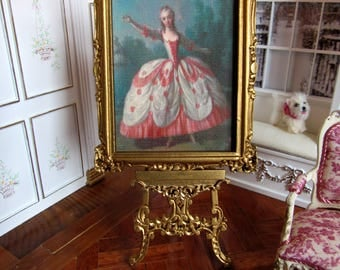 "1:12th Scale ~ Dolls House Miniature ~ 18th Century  ""French Dancer"" Silk Panel In Gilded Wooden Frame"