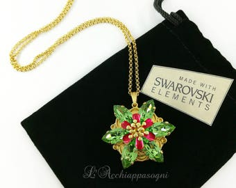 Anastasia Together In Paris Necklace Anastasia Necklace Pendant Once Upon a Dicember Romanov Brass flower Swarovski PERIDOT green