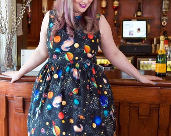 1950's Style Planets Dress, Vintage Dress, 1950s Dress, Space, Space Print, Space Dress, Space Party, Solar System, Planets Dress