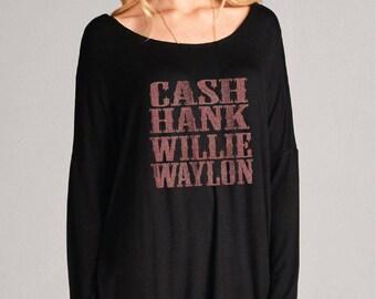 Cash Hank Willie Waylon. Top T-Shirt - Womens Long Sleeve Tee. Black or Khaki Oversize T-Shirt