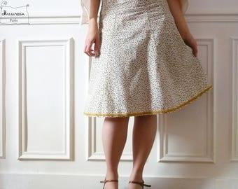 skirt floral betsy ecru/beige and ochre