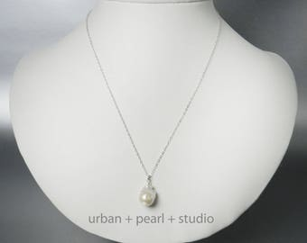 Baroque Pearl Necklace Large Baroque Pearl Pendant Gifts Under 30 Dollars Big Pearl Drop Unique Pearl Necklace BPN14