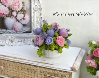 Miniature Dollhouse Peonies, Roses & Lilac Arrangement In The White Porcelain Bowl