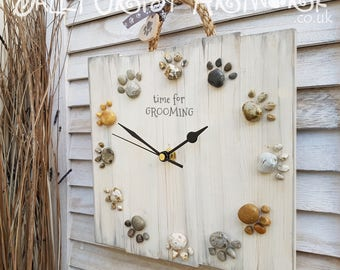 TIME for a new clock! Handmade clock with pawprints - 'Beachcomber' For grooming salon, pet shop, any kind of pet business