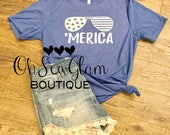 Merica - Fourth of July Shirt - Patriotic T - Womens and Mens America Shirt - Custom - Personalized - 4th of July Tee - 'Merica Tee design