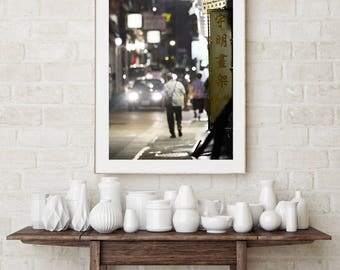 Hong Kong Photography,Night Photography,Wall Art, Hong Kong Art Print,Street photography,Home decor,Fine art photography,street photo