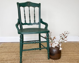 Emerald Green Chair   Antique Wood Chair   Country Chic Furniture   Small  Accent Chair