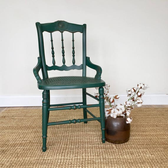 Emerald Green Chair - Antique Wood Chair - Country Chic Furniture - Small Accent Chair - Distressed Furniture - Spindle Back Chair