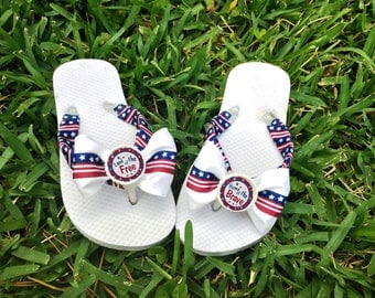 American Flag, Flip Flops, Stars and Stripes, Sandals, Military Deployment Homecoming, Outfit, USA Flag, Girl's Flip Flops, Red white Blue