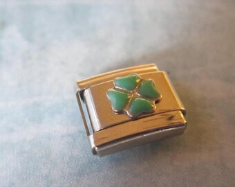 Green 4 leaf clover shamrock  Italian Style Nomination Bracelet Charm Stainless Steel Bracelet Making Silver Toned single charm 9mm