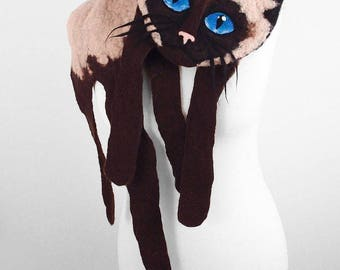 Cat Scarf SIAM CAT SCARF Cat Stole Animal Scarf Cat Collar Nunofelt Scarves Felt Wrap Nuno felt wearable art