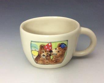 Bears cup, oval bowl, porcelain, 8 ounce