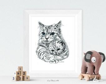 Mother Cat and Kitten Print, mummy and baby cat art, nursery prints, animal nursery, cat artwork, cat prints, cute art