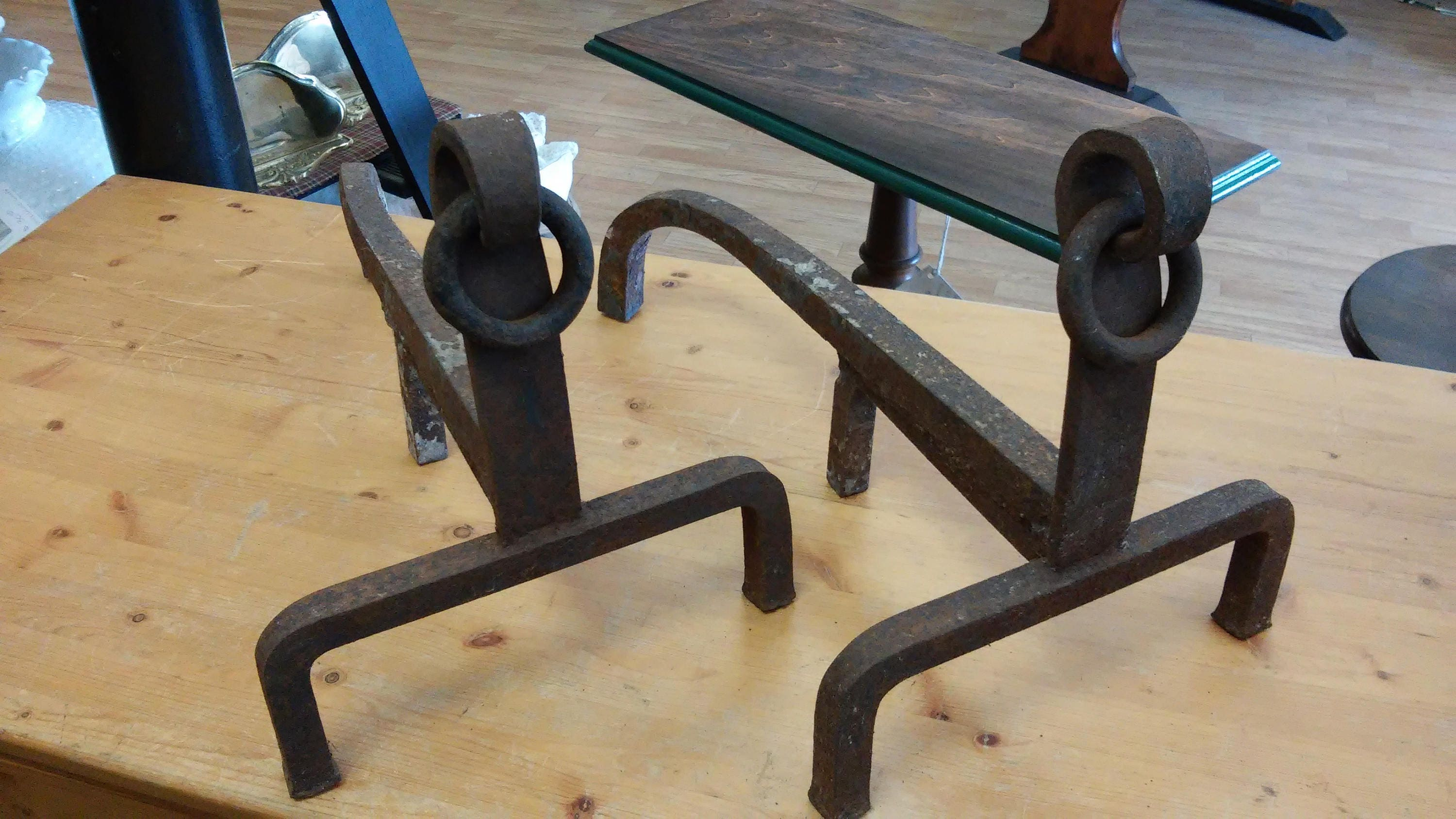 unique 1920 u0027s hand forged antique iron fireplace log andirons