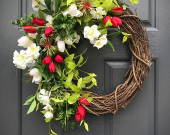 Spring Wreath, Front Door Wreath, Red White Green, Red White Wreath, Spring Door Wreath, Housewarming, Gift for Her, Spring Wreaths, Red