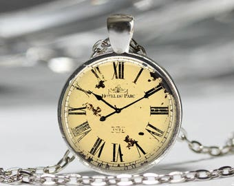Vintage Antique Clock Pendant, Pocket Watch Jewelry, Old Cool Hipster Pocket Watch Necklace [B24]