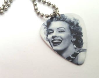 Marilyn Monroe Guitar Pick Necklace with Stainless Steel Ball Chain - Hollywood