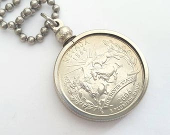 Nevada State Quarter Coin Necklace with Stainless Steel Ball Chain or Key-chain - 2006 - the Silver State