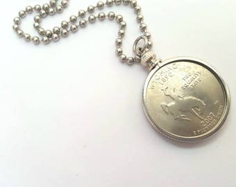 Wyoming State Quarter Coin Necklace with Stainless Steel Ball Chain or Key-chain - 2007