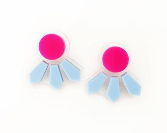 Seeker Studs in Hot Pink and Pastel Blue