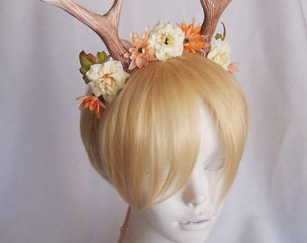"""6"""" Antlers Headband / Cream and Peach Flowers / Lovely Deer Costume / Ready to Ship"""