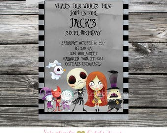 Printable Nightmare Before Christmas Birthday Invitation, Jack and Sally Invitation, Twin Birthday Invite, Sibling Invite, Halloween Invite