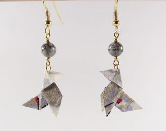 Origami birds earrings * MOYO * Origami jewelry | Origami chick | Paperbird | Washipaper | Chicken | Animal | Japan | Made in France