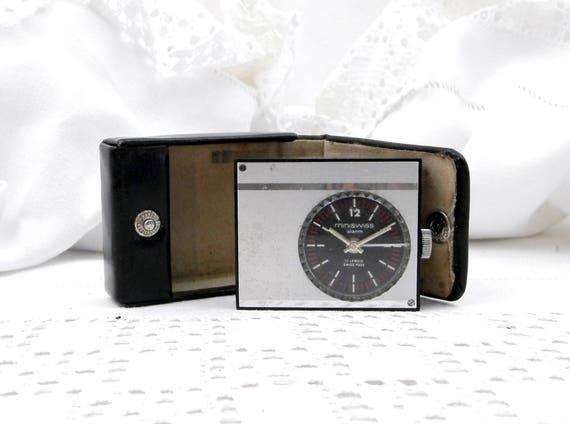 Small Working Vintage Mid Century 1960s Swiss 17 Jewel Mechanical Travel Alarm Clock Miniswiss with Black Case, Wind-up Clock Switzerland