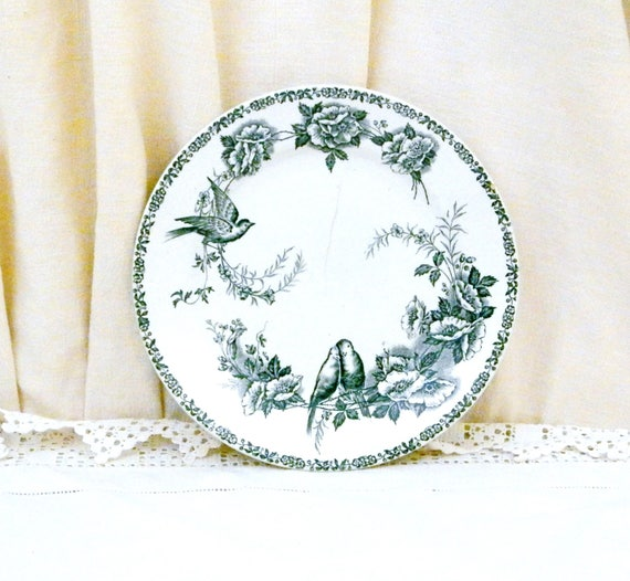 Antique French Ironware Plate With Bird / Bluetit and Rose Flower Transfer Pattern in Teal Blue, St Amand Faience, Pottery from France