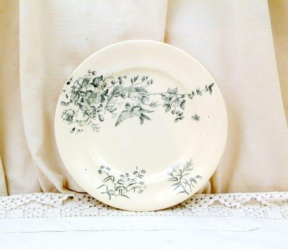 Antique French Ceramic Bird Pattern Plate, Dark Blue on White Blue Tits with Wild Rose Design, Victorian Decorative Dinnerware