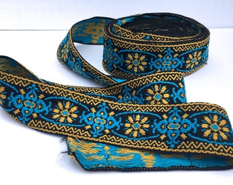 Cotton Woven Jacquard Ribbon Jacquard Trim Blue and Gold Trim Woven Ribbon 1.75  inches wide