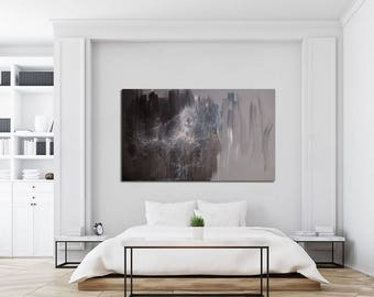 """Extra Large Painting 70"""", Grey Contemporary Painting Black and White, Oversize Painting in Acrylic, Abstract Ballet Painting Original"""