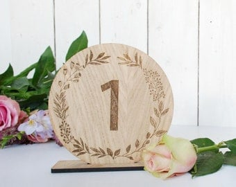 Wedding Table Numbers - Rustic Wedding - Table Decorations - Wedding - Wreath - Autumnal Wedding - Winter Wedding Wooden Wedding - Bride