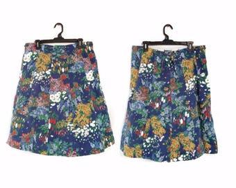Vintage 1970s Eccobay Skirt floral flowers size 14/16