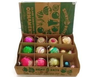 Vintage Shiny Brite Christmas Ornaments Mercury balls Lot 14 with box