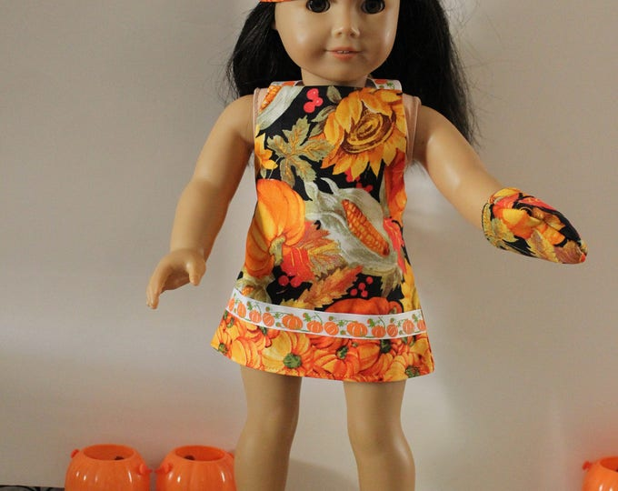 Ready for the Fall/Thanksgiving Pumpkins and Fall print apron,Hat and Mitt, Fits dolls like american Girl and Our Generation FREE SHIPPING