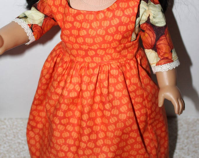 Ready for Thanksgiving, historical Long Dress with Orange Pumpkins, Apron Made for the AG, and other 18 inch Dolls, FREE SHIPPING