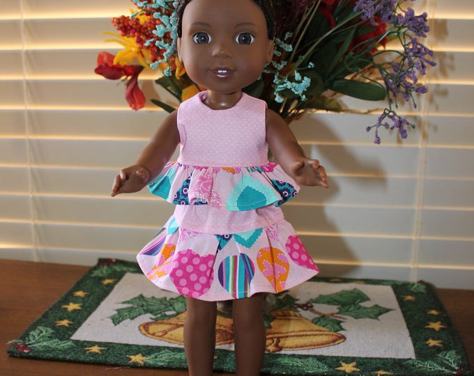Pink top, hearts skirt w/ruffles and Matching Shoes Handmade to fit the wellie wisher and Heart to Heart and other 14 5 dolls Free Shipping