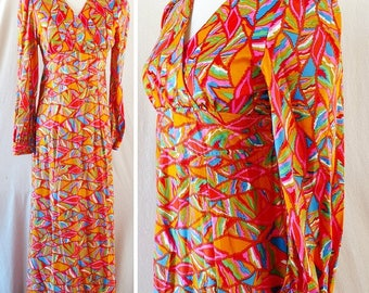 Vintage Psychedelic Geometric Maxi Dress. Extra Small